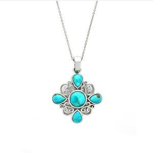 Sterling Silver Turquoise Floral Necklace